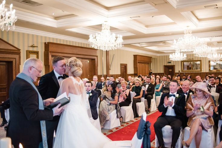 Bride and Grooms first kiss, Wedding at the Lough Erne Resort, Fermanagh, Northern Ireland