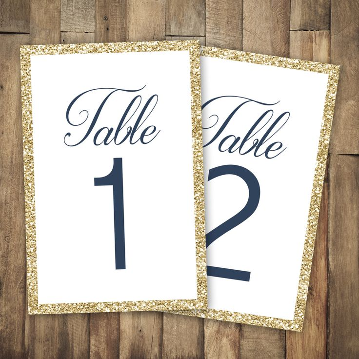 These beautiful table numbers are perfect for your big day. These table numbers are printed on thick cardstock and are ready to be framed or displayed however you would like. Featuring a gold glitter (printed effect) border with an elegant and modern font mixture these table numbers are sure to be the perfect addition to your table settings. MATCHING INVITATIONS FOUND HERE: https://www.etsy.com/listing/230835212/navy-wedding-invitation-gold-wedding?ref=shop_home_active_17  PAPER QUALITY At…