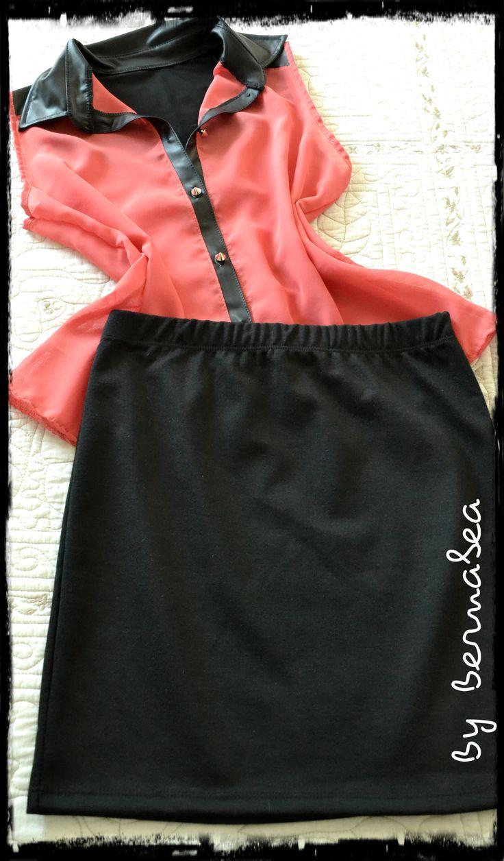 Camisa de gasa, con cuello engomado y botones tipo pua. Colore coral. + Mini de tela Punto roma! Look by bernabea!