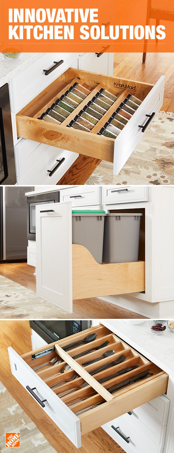 Create a kitchen that's not only beautiful, but also makes life and cooking easier with built-in storage and organization. Store herbs and spices, cutlery and even your trash bins out of sight until needed. Click to learn more about KraftMaid's Kitchen Innovations and add function to the heart of your home.