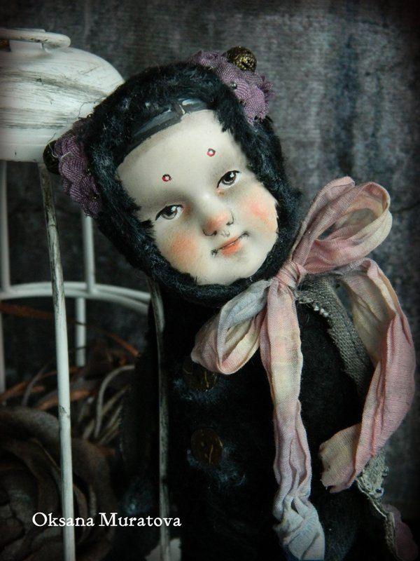 Art Teddy Doll Hand Made OOAK Retro Moth by DollTeddyClub on Etsy