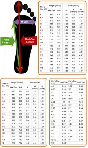 Размерная сетка nike детская обувь