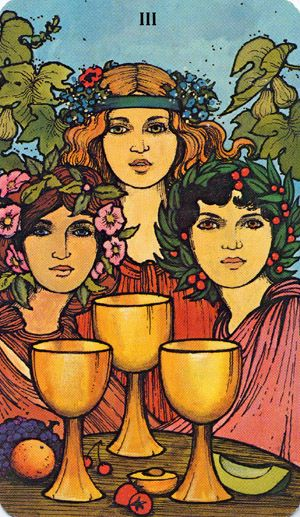 3 of CUPS >>> virtual-fortune-teller.com >>>  Pregnancy, optimism, growth, joy, celebrations, determination, merriment, victory, fulfilment, solace, healing, a pledge or oath, resolution, perfection, union, happy conclusions, abundance, bright blessings.
