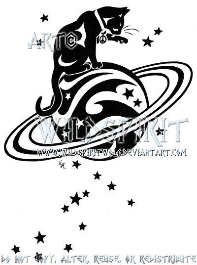 Starry Cat And Saturn Logo by WildSpiritWolf.de… on @deviantART   – Tattoos