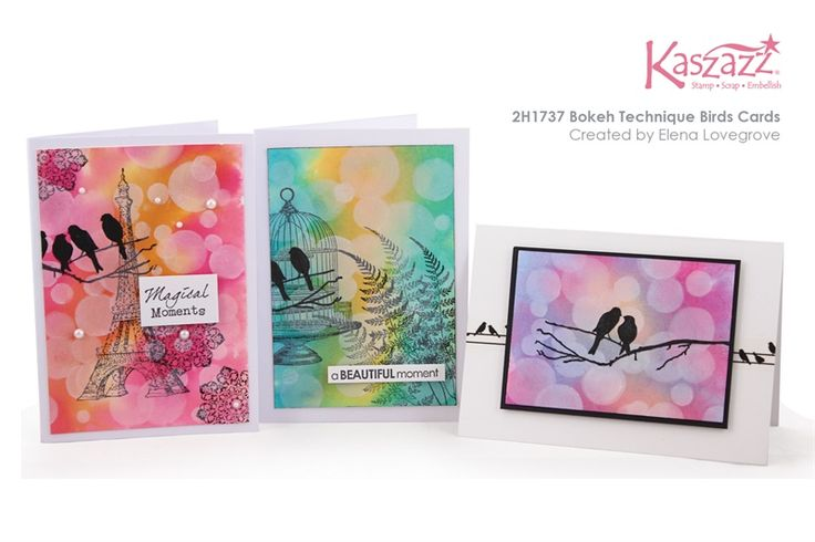 2H1737 Bokeh Technique Birds Cards