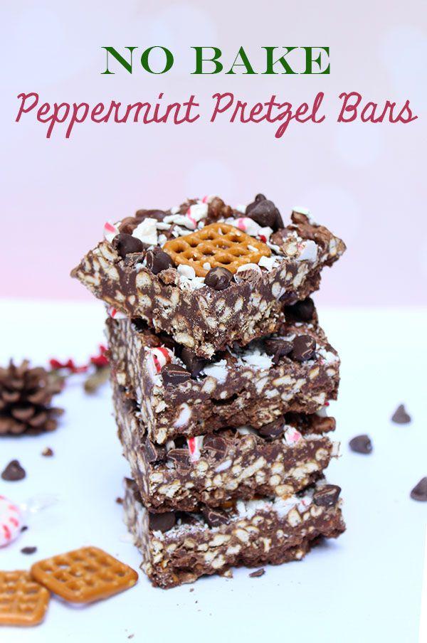 No Bake Peppermint Pretzel Bars | Recipe | Holiday treats, Peppermint ...