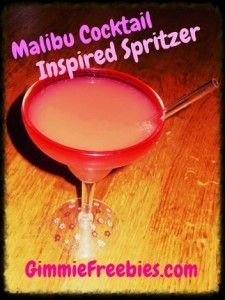 Try an Alcohol FREE version of a Malibu mixed drink in this Malibu Cocktail Inspired Spritzer recipe! #Nutrisystem @GimmieFreebies_Recipes