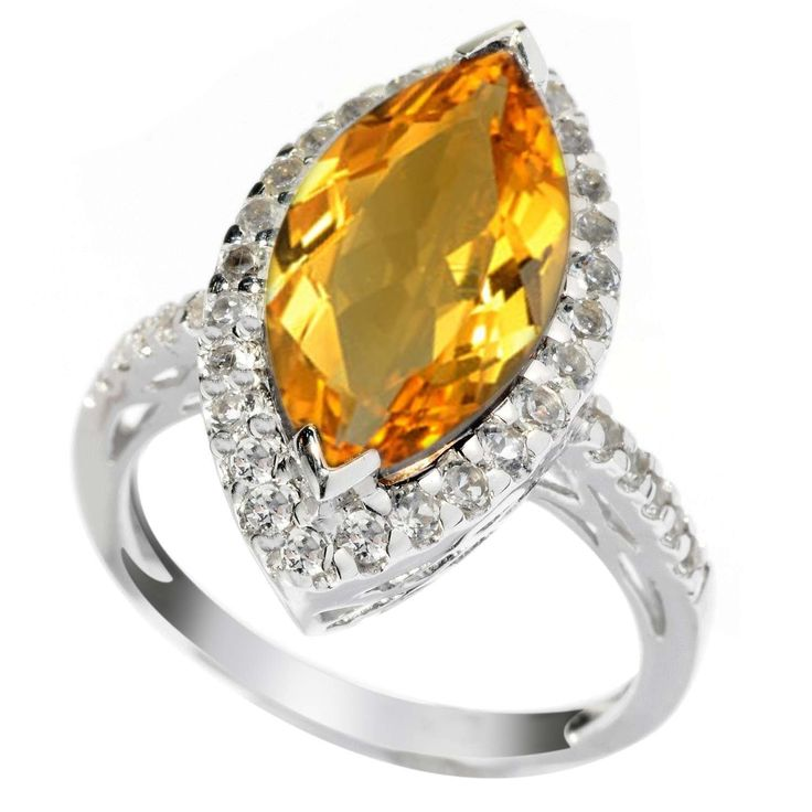 Sterling Silver 3.20ct Citrine and White Topaz Marquise Halo Ring -