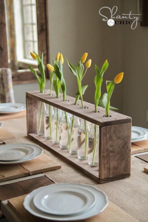 DIY Idea: Make this unique bottle vase centerpiece with just a few pieces of wood.