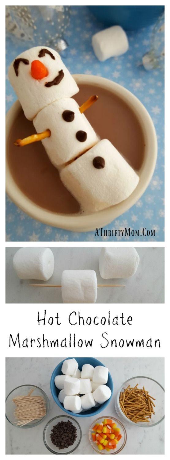 Hot Chocolate Marshmallow Snowman, easy snow day treat. #kidfriendly #treat  #frozen  #partyideas