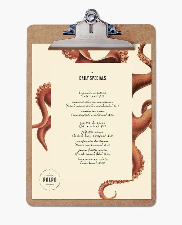 Polpo Restaurant Menü von Richard Marazzi auf www.behance.net/gallery/Polpo-Restaurant/13572005