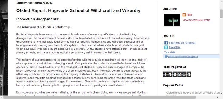 Life, teaching and other distractions.: Ofsted Report: Hogwarts School of Witchcraft and Wizardry