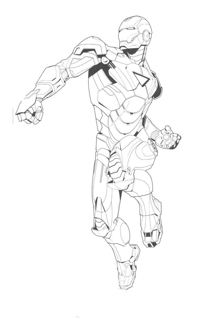 Iron man hitting preparing coloring pages