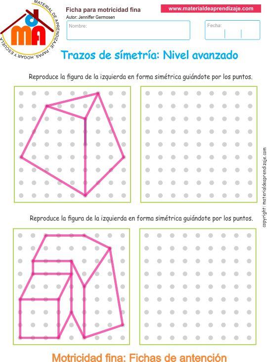 Ejercicio 03 nivel avanzado: Actividades escolares de trazos de simetría para desarrollar la memoria y la atención con los niños.