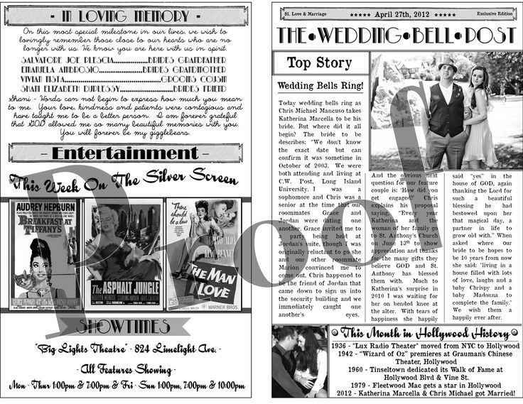 8 best NEWSPAPER images on Pinterest Wedding programs - newspaper templates for kids