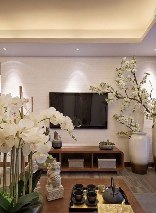 Asian Living Room Design asian living room design with wall arts and mirror and floral curtains living room Cro Asian