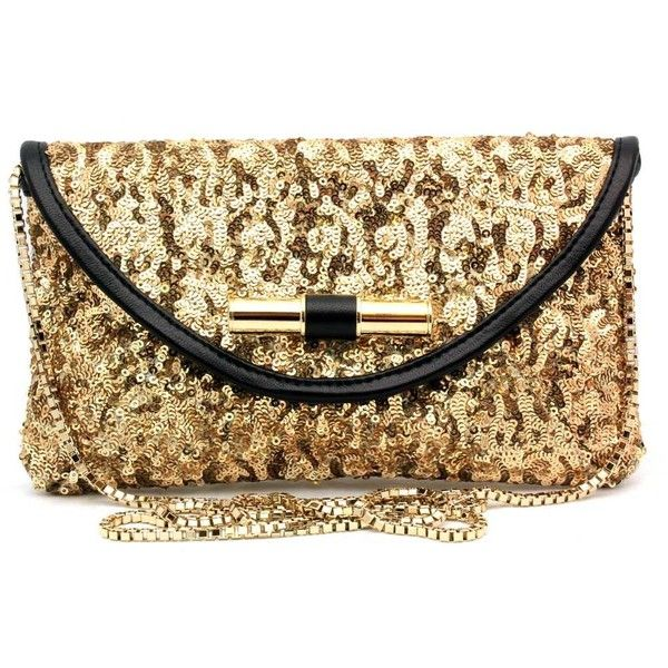 "Jimmy Choo ""Canisa"" Gold Sequin Clutch ($765) ❤ liked on Polyvore"