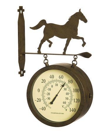 Look what I found on #zulily! Two-Sided Outdoor Horse Wall Clock & Thermometer #zulilyfinds