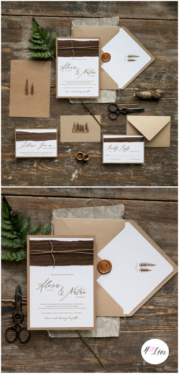how to address wedding invitations inside envelope%0A Handmade Eco calligraphy wedding invitations with touch of wood and natural  twine  Includes printing  envelopes finished with tree printed liner