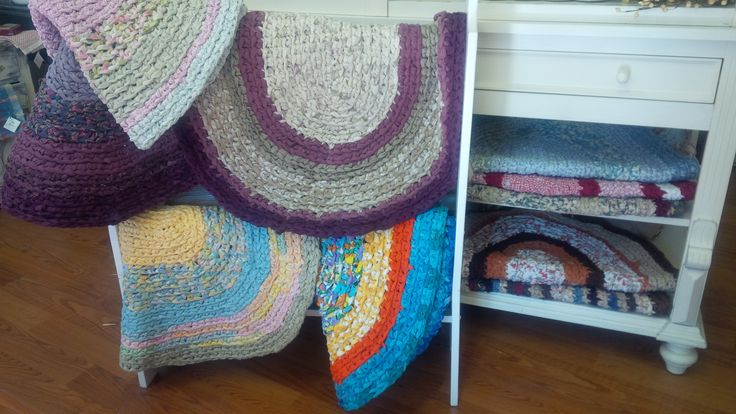 Hand Hooked Rugs ~ Local & made from Upcycled Bed Sheets ~ we love upcycling! :)  Available at Mariposa Design 73 Foster Street, Perth, ON K7H 1R9