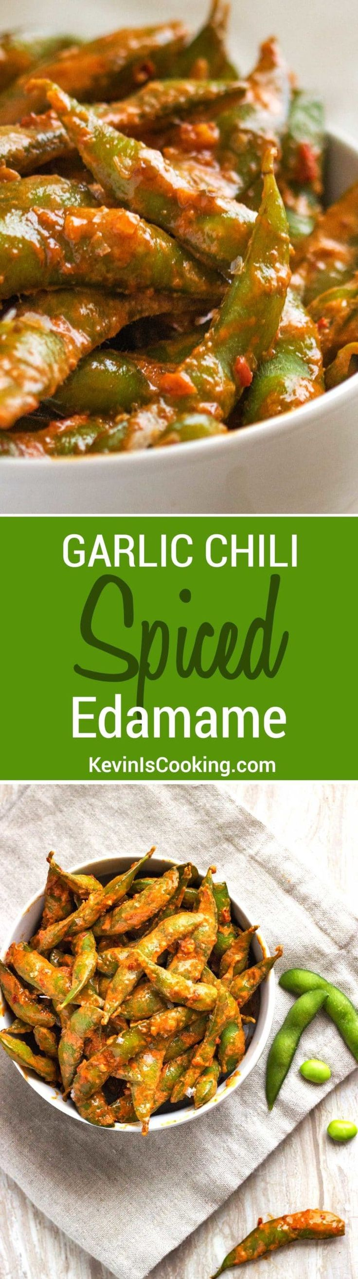 Garlic Chili Spicy Edamame arean easy to prepare snack that can be on the table in 10 minutes. Made with a wonderful creamy garlic and chili paste sauce!