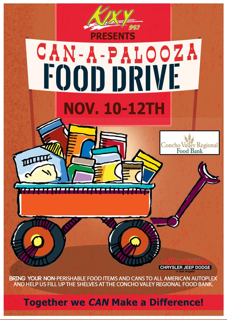 """Can-a-palooza"" Food Drive #flyer design for Foster Communications and 94.7 KIXY FM upcoming can collection event in November."