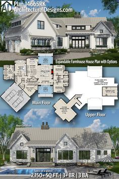 Architectural Designs Modern Farmhouse House Plan 14665RK Has 3+ Beds   3  Baths   2,150
