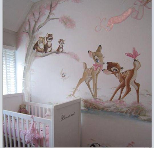 Wundervolle Wandgestaltung fürs Babyzimmer! #bambi #baby #kinderzimmer