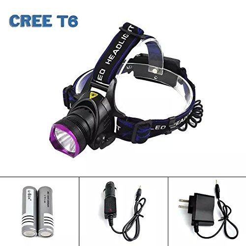 u-Box Cree XM-L T6 Super Bright Headlight Headlamp Torch with Charger, Car Charger and 2 x 18650 batteries -- Additional info  : Camping supplies