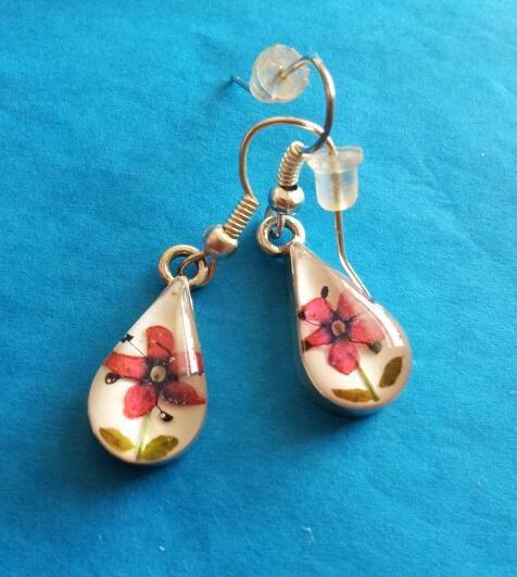 Tear drop, drop earrings, dangling earrings, sterling silver, flowers, pink flowers