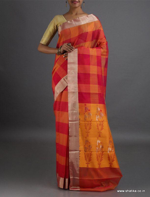 Bhavya Bold Checks designer Pallu #CoimbatoreSilkCottonSaree