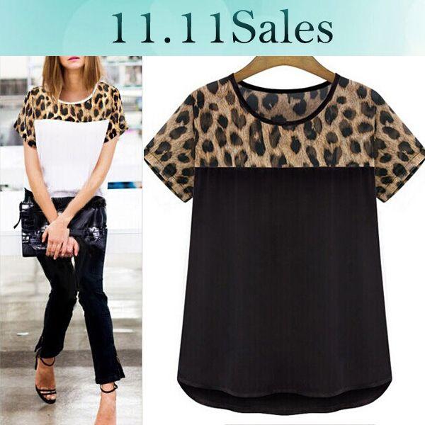 Barato Casual Leopard Print Blousas Plus Size Moda Feminina Chiffon Blusa Blusa Chiffon Camisa Preta Blusa Camisas ROUPAS Femininas, Compro Qualidade Blusas diretamente de fornecedores da China: