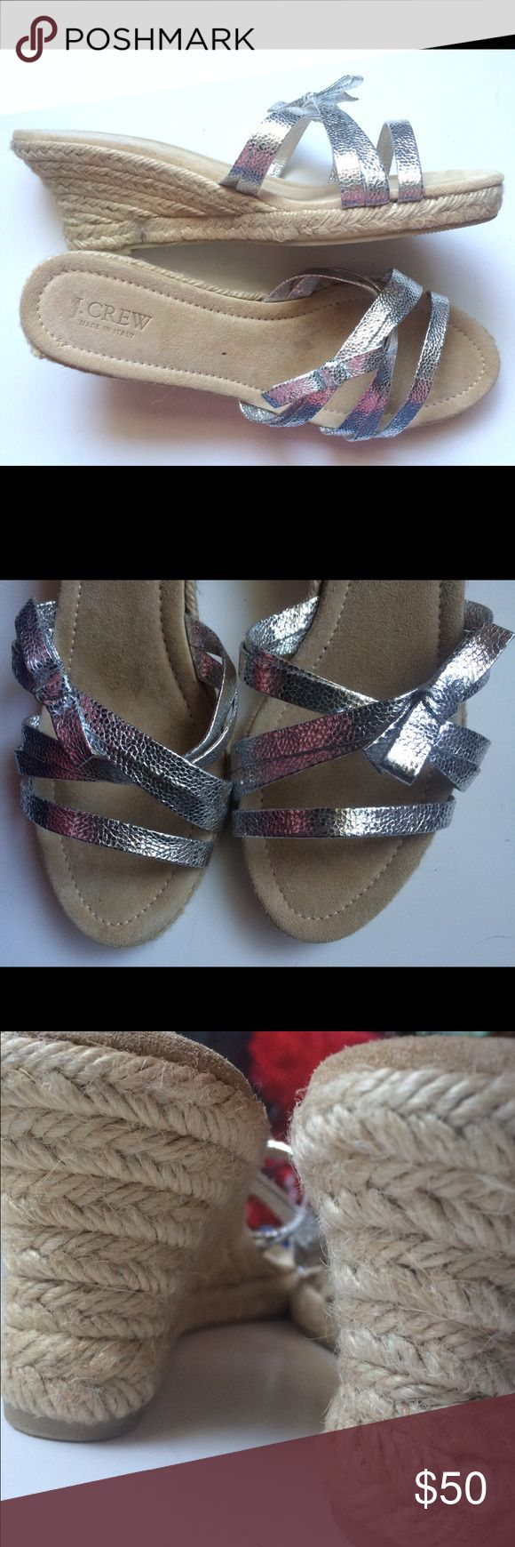 •J.CREW• Metallic Silver Espadrille Wedges Size 9 Like new. Marked 10 but do not fit size 10. Fits 8.5-9 better. J. Crew Shoes Espadrilles