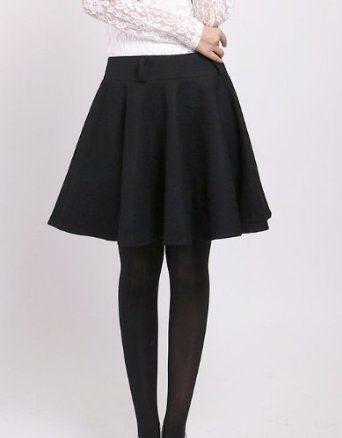 Amazon.co.jp: 秋冬 フレア サーキュラースカート ミニスカート 圧縮ウール 黒 XS~XL 短すぎないミニ丈: 服&ファッション小物