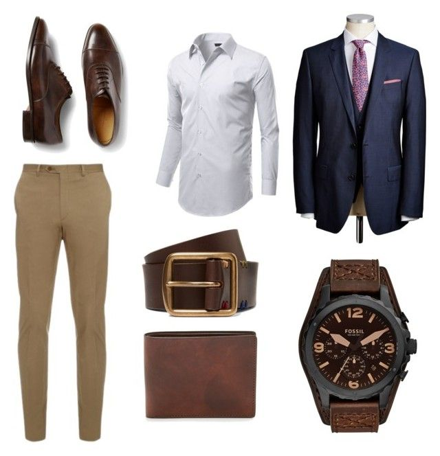 """Dressy outfit"" by mihai-cosmin on Polyvore featuring Brioni, John Lobb, Paul Smith, FOSSIL, mens, men, men's wear, mens wear, male and mens clothing"