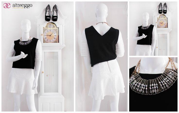 #moda #fashion #otoño #invierno #2014 #nueva #temporada #nueva #coleccion #NewCollection #moda #para #chicas #blusa #negra #black #falda #skate #blanca
