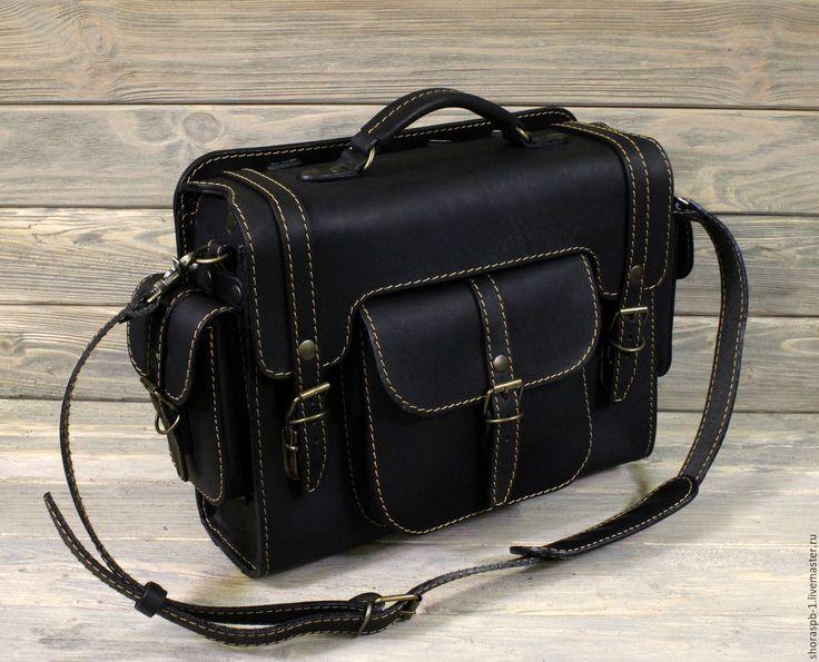"""Купить Сумка-ранец """"Странник"""" горизонтальная, артикул 0841ж - черный, кожаный рюкзак, натуральная кожа"""