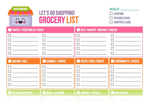 29 best list templates images on Pinterest Grocery shopping lists - grocery list spreadsheet