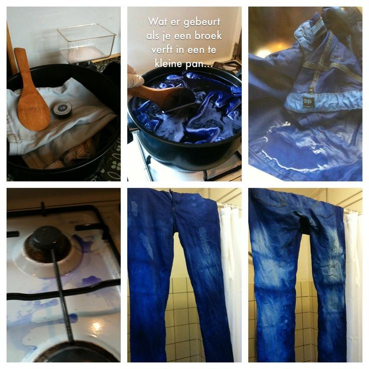 Er zat een rode, niet uitwasbare vlek in mijn lichtblauwe broek. Oplossing: donker verfen! Tip: gebruik een GROTE pan!!...