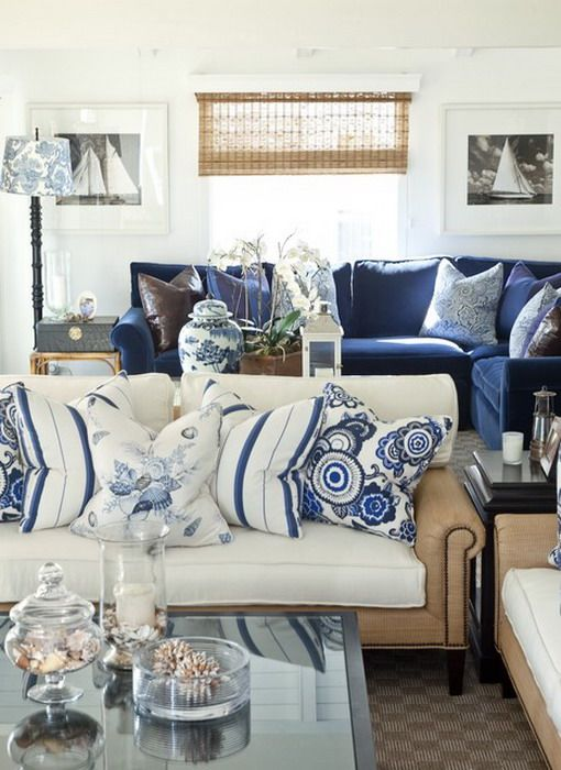 Blue and White Living Room Sofa