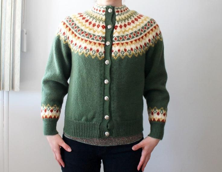 Vintage Nordic Green Wool Cardigan. Etsy.