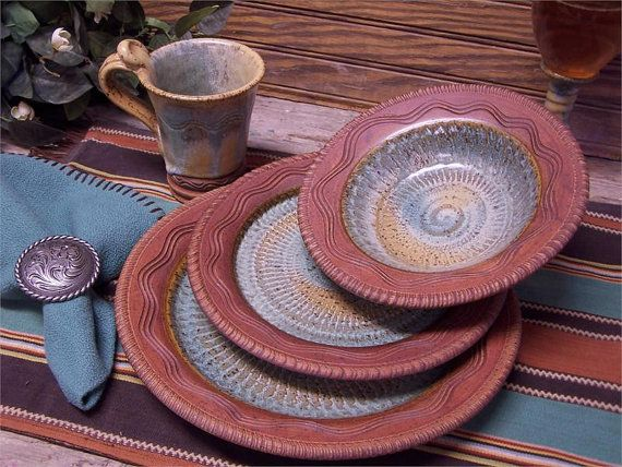 Reata Custom Dinnerware 4-Piece Place Setting from Touch of Art Pottery - A Custom & 14 best DINNERWARE images on Pinterest | Dinner ware Dinnerware and ...