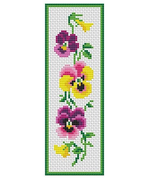 Pansies Flowers Bookmark Counted Cross Stitch Pattern in PDF for Instant Download