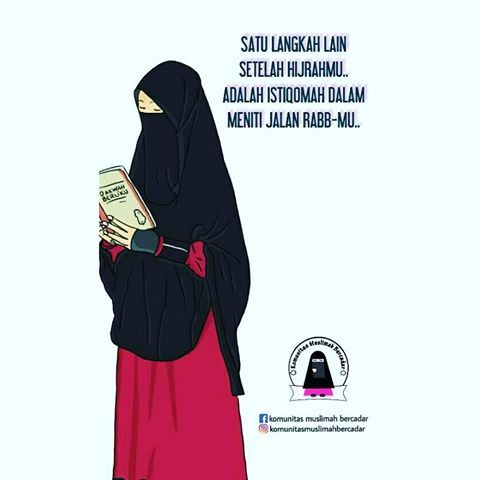 Gambar Kartun Muslimah Bercadar Baca Buku Hijab Pinterest
