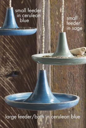 Large Glazed Catalina Terracotta Bird Feeder/Bird Bath; stacked and a little deeper maybe a sedum planter...