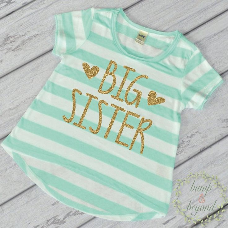 Big Sister Shirt. This adorable high-low short sleeve top is the perfect outfit for siblings and is a great pregnancy announcement or photo prop! It features an all-over stripe print for a fun chic lo