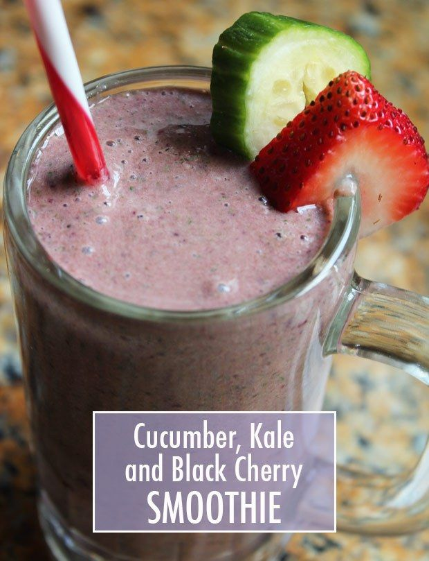 Cucumber, Kale and Black Cherry Smoothie Recipe -Delish and healthy!