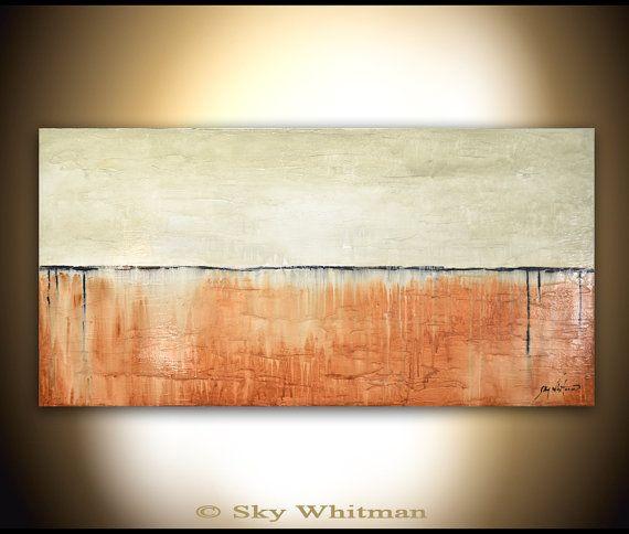 Texturé Original moderne grand abstrait peinture haute brillance crème à l'huile peinture Art contemporain Decor 24 x 48 par Bethany ciel Whitman