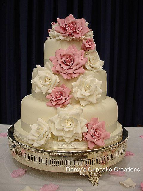 three tier rose wedding cake by Darcy's Cupcake Creations, via Flickr