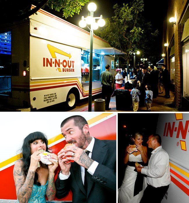 IN-N-OUT will rent you a truck for 1K fully stocked with a cooking team for the day. Used to work there and they had one at the company picnic. Awesome! Back yard wedding + Food Truck = Bravo    what fun would that be! I love it